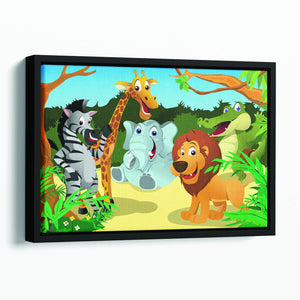 group of wild African animals in the jungle Floating Framed Canvas