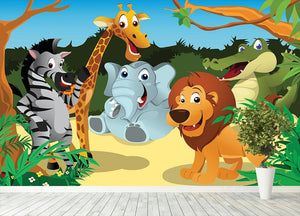 group of wild African animals in the jungle Wall Mural Wallpaper - Canvas Art Rocks - 4