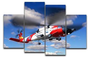 helicopter coast guard 4 Split Panel Canvas  - Canvas Art Rocks - 1