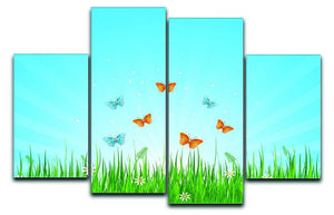 illustration of grassy field and butterflies 4 Split Panel Canvas  - Canvas Art Rocks - 1