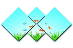 illustration of grassy field and butterflies 4 Square Multi Panel Canvas  - Canvas Art Rocks - 1