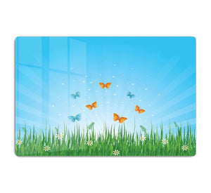 illustration of grassy field and butterflies HD Metal Print