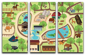 illustration of map of a zoo park 3 Split Panel Canvas Print - Canvas Art Rocks - 1