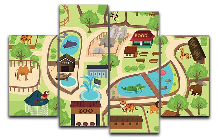 illustration of map of a zoo park 4 Split Panel Canvas