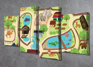 illustration of map of a zoo park 4 Split Panel Canvas  - Canvas Art Rocks - 2