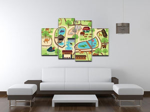 illustration of map of a zoo park 4 Split Panel Canvas  - Canvas Art Rocks - 3
