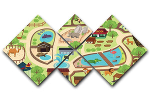 illustration of map of a zoo park 4 Square Multi Panel Canvas  - Canvas Art Rocks - 1