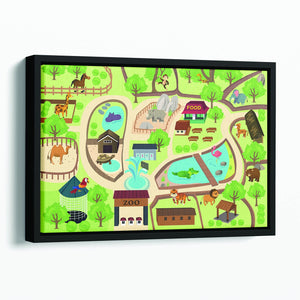 illustration of map of a zoo park Floating Framed Canvas