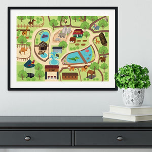illustration of map of a zoo park Framed Print - Canvas Art Rocks - 1