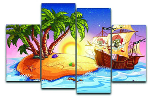 island with a pirate ship 4 Split Panel Canvas  - Canvas Art Rocks - 1