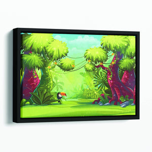 jungle with bird toucan Floating Framed Canvas