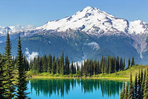 lake and Glacier Peak Wall Mural Wallpaper - Canvas Art Rocks - 1