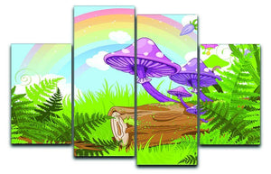 landscape with mushrooms and flowers 4 Split Panel Canvas  - Canvas Art Rocks - 1