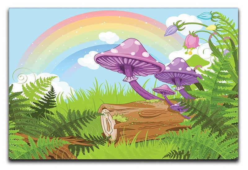 landscape with mushrooms and flowers Canvas Print or Poster  - Canvas Art Rocks - 1