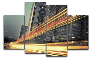 light trails modern building 4 Split Panel Canvas  - Canvas Art Rocks - 1