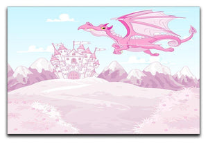magic dragon on princess castle Canvas Print or Poster  - Canvas Art Rocks - 1