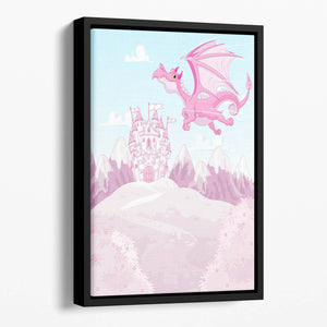 magic dragon on princess castle Floating Framed Canvas