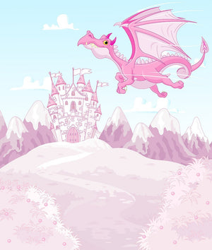 magic dragon on princess castle Wall Mural Wallpaper - Canvas Art Rocks - 1