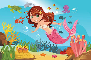 mermaid swimming underwater in the ocean Wall Mural Wallpaper - Canvas Art Rocks - 1