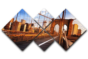morning on the famous Brooklyn Bridge 4 Square Multi Panel Canvas  - Canvas Art Rocks - 1