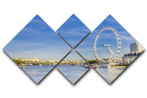 morning with London eye millennium wheel 4 Square Multi Panel Canvas  - Canvas Art Rocks - 1