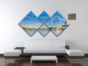 morning with London eye millennium wheel 4 Square Multi Panel Canvas  - Canvas Art Rocks - 3