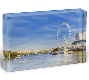 morning with London eye millennium wheel Acrylic Block - Canvas Art Rocks - 1