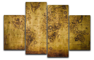 old map 4 Split Panel Canvas  - Canvas Art Rocks - 1