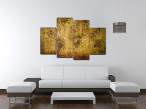 old map 4 Split Panel Canvas  - Canvas Art Rocks - 3