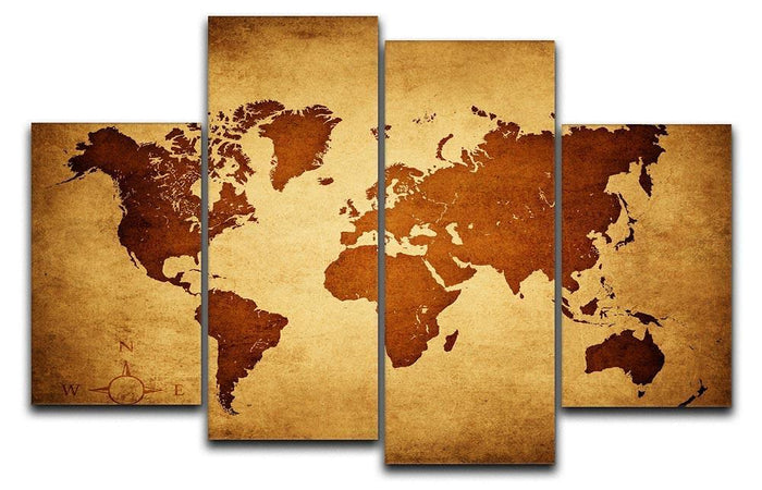 old map of the world 4 Split Panel Canvas