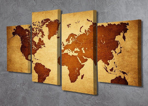 old map of the world 4 Split Panel Canvas  - Canvas Art Rocks - 2