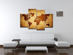 old map of the world 4 Split Panel Canvas  - Canvas Art Rocks - 3