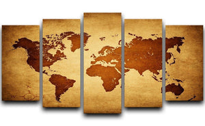 old map of the world 5 Split Panel Canvas  - Canvas Art Rocks - 1