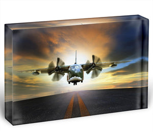 old military container plane Acrylic Block - Canvas Art Rocks - 1