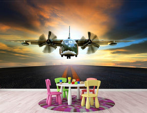 old military container plane Wall Mural Wallpaper - Canvas Art Rocks - 3