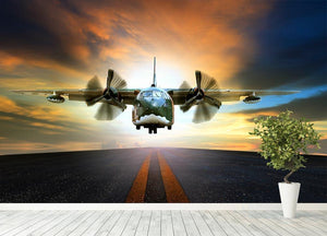 old military container plane Wall Mural Wallpaper - Canvas Art Rocks - 4