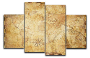 old nautical treasure map illustration 4 Split Panel Canvas  - Canvas Art Rocks - 1