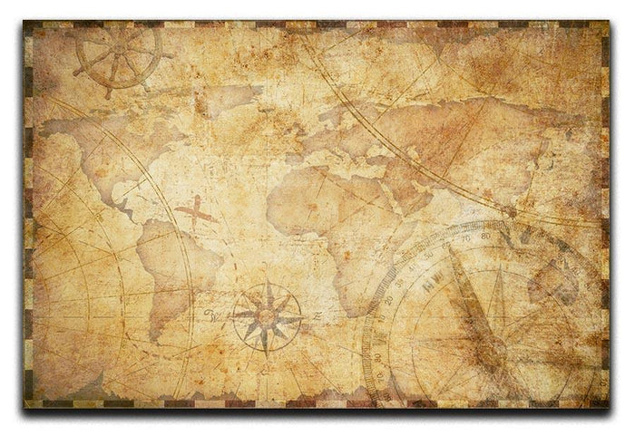 old nautical treasure map illustration Canvas Print or Poster