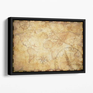 old nautical treasure map illustration Floating Framed Canvas