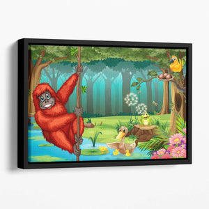 orangutan swinging in the jungle Floating Framed Canvas