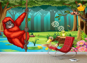 orangutan swinging in the jungle Wall Mural Wallpaper - Canvas Art Rocks - 3