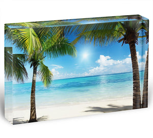 palms and beach Acrylic Block - Canvas Art Rocks - 1