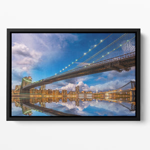 panoramic sunset with Brooklyn and Manhattan Bridge Floating Framed Canvas