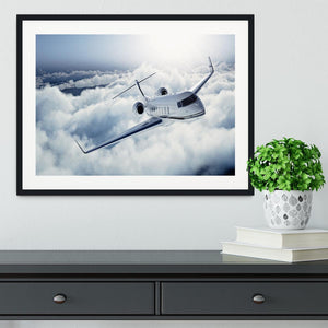 private jet flying over the earth Framed Print - Canvas Art Rocks - 1