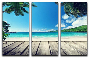 seychelles beach and wooden pier 3 Split Panel Canvas Print - Canvas Art Rocks - 1