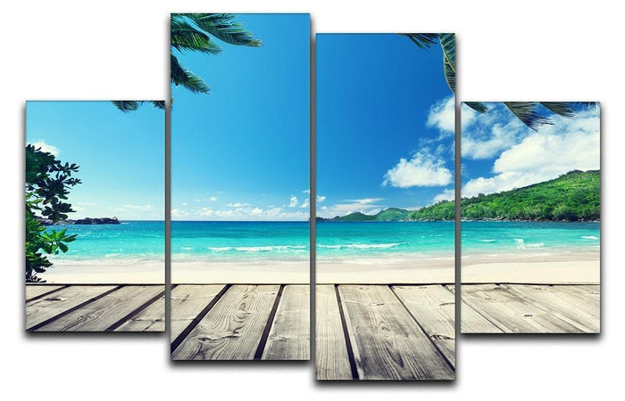 seychelles beach and wooden pier 4 Split Panel Canvas