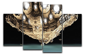 ships in low orbit over a planet 4 Split Panel Canvas  - Canvas Art Rocks - 1
