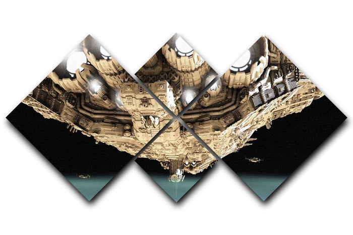 ships in low orbit over a planet 4 Square Multi Panel Canvas