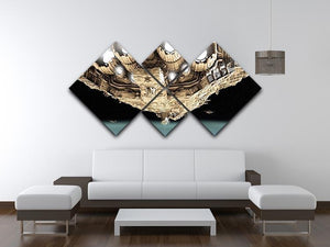 ships in low orbit over a planet 4 Square Multi Panel Canvas - Canvas Art Rocks - 3