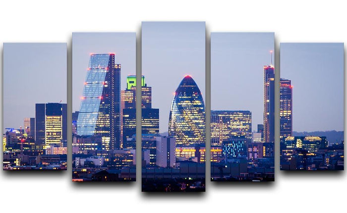 skyline from Greenwich 5 Split Panel Canvas